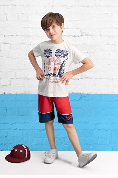 U.S. Polo Assn. Lisanslı Erkek Çocuk Bermuda Takım Krem